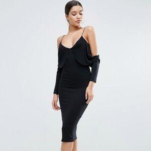 Asos Cold Shoulder Midi Bodycon Dress Size 6 Black